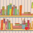 Shelves with books at home — Stock Vector #5596404