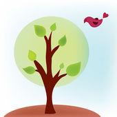 Tree with bird in summer — Stock Vector