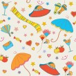 Summer objects seamless funny  pattern — Stock Vector