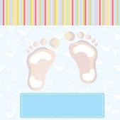 Carta di arrivo bambino ragazzo con impronte — Vettoriale Stock