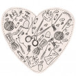 Heart with sewing items — Stock Vector
