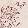 Floral invitation card with bird — Imagen vectorial
