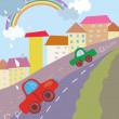 Funny city cartoon with cars - Vettoriali Stock 