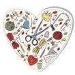 Sewing and knitting heart — Stockvectorbeeld