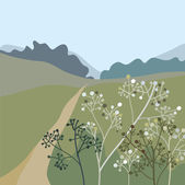 Landscape with grass — Vector de stock