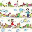 Stock Vector: Kids seamless pattern with houses
