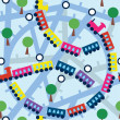 Seamless pattern with funny trains — Vector de stock