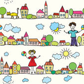 Kids seamless pattern with houses — Stock Vector