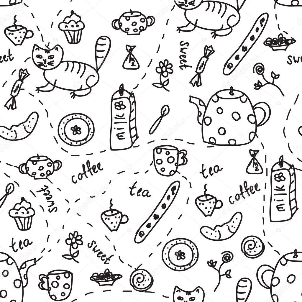 Tea and coffee doodle seamless — Stock Vector © Tasia12 #6129474