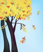Autumn tree and sky — Stock Vector