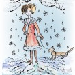 Stock Vector: Sad girl with dog under the snow