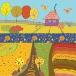 Autumn banners cartoon — Stock Vector