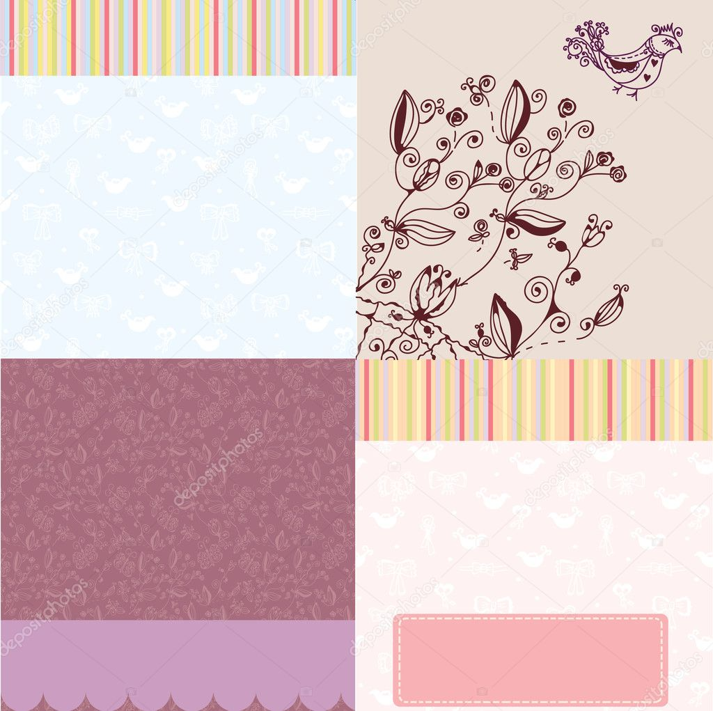 Background greeting set of cards — Vettoriali Stock  #6315425