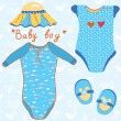 Vettoriale Stock : Baby garments set for boy