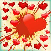 Vector background of explosion heart. — Stock Vector