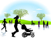 Joggen mit Kind — Stock Vector