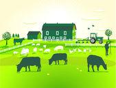Green Farm — Stock Vector