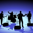 Singer and  Band — Imagen vectorial
