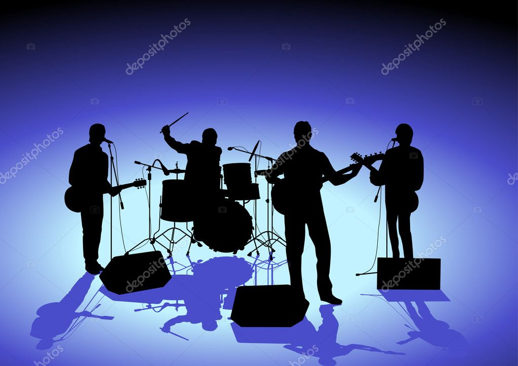 Singer and  Band  Stock Vector #5470861