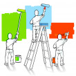 Three painters — Stock Vector