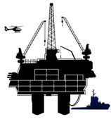 Oil drilling rig — Stock Vector