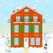 House in winter time — Stock Vector #5879058