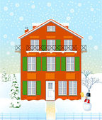 House in the winter time — Stock Vector