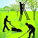 Gardeners gardening — Stock Vector #5907923