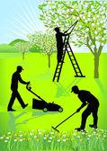 Gardeners gardening — Stock Vector