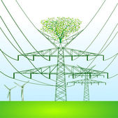 Green power pole — Vecteur