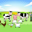 Farmer and his Animals - Stock Vector
