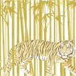 Tiger in Bamboo Forest — Stock Vector