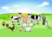 Farmer and his Animals — Stock Vector