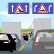 Stock Vector: Casualty and traffic jam