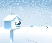 Santa songbird in the snow — Stock Vector