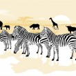 Stock Vector: Wild animals in savannah