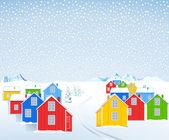 Färgglada trähusen i vintern — Stockvektor