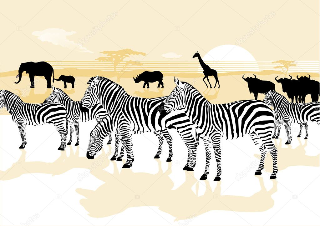 Wild animals in the savannah — Stock Vector #6159658