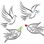 Dove, pigeon — Stock Vector