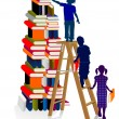 Stock Vector: Stacks of books with children