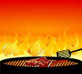 Barbecue griglia fuoco — Vettoriale Stock