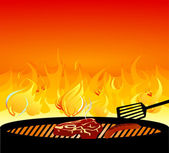 Barbecue grill fire — Vector de stock