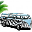 Stock Vector: Hippie Van