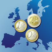 € Euro zone with Europe map — Stock Vector