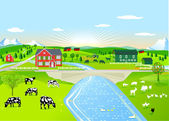 Summer morning landscape with agricultural animals — Stock Vector