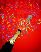 Bottle of champagne popping — Stock Vector