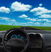 Inside car view at high speed — Stok fotoğraf