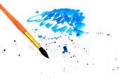 Borstel met blauwe penseelstreek en stok — Stockfoto