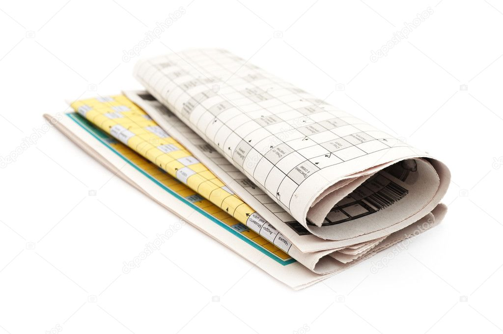 Rolled up newspaper isolated on white background — Stock Photo #6068174