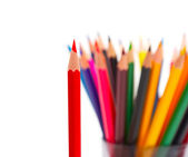 A bunch of color pencils pointing up. — Stock Photo
